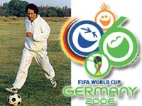 Photo of Col. Moammar Gadhafi kicking a football.